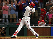 May 12, 2017 - Arlington, TX, USA - Texas Rangers' Joey Gallo (13) watches his three-run home run in the ninth inning to beat the Oakland Athletics 5-2 on Friday, May 12, 2017 at Globe Life Park in Arlington, Texas. (Credit Image: © Richard W. Rodriguez/TNS via ZUMA Wire)