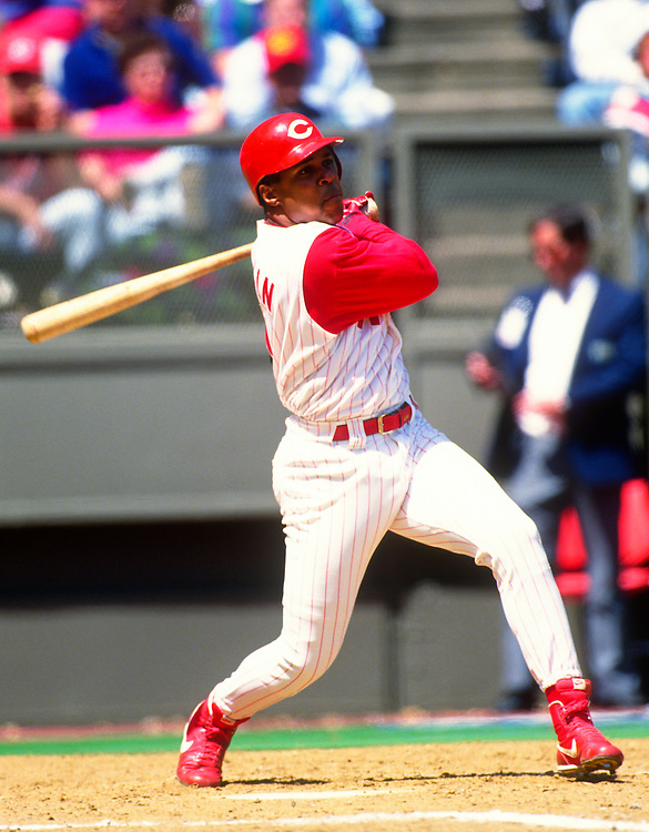 CINCINNATI:  Barry Larkin of the Cincinnati Reds bats during an MLB game at Riverfront Stadium in Cincinnati, Ohio.  Larkin played for the Reds from 1986-2004.   (Photo by Ron Vesely)   Subject: Barry Larkin.
