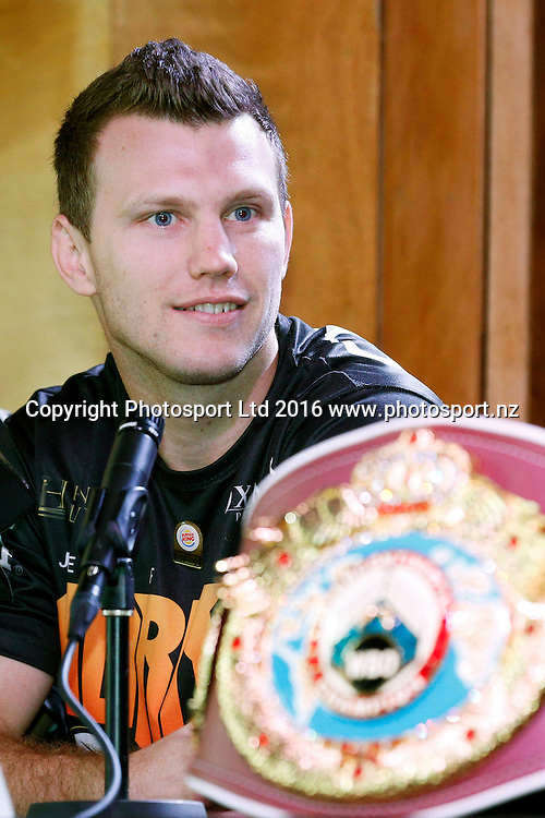 Jeff Horn, Final press conference before the December 10, Parker v Ruiz, WBO world boxing heavyweight title fight. Rec Bar, Auckland. 8 December 2016 / www.photosport.nz