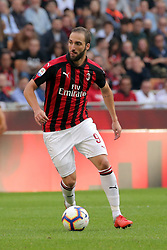 October 7, 2018 - Milan, Milan, Italy - Gonzalo Higuain #9 of AC Milan in action during the serie A match between AC Milan and Chievo Verona at Stadio Giuseppe Meazza on October 7, 2018 in Milan, Italy. (Credit Image: © Giuseppe Cottini/NurPhoto/ZUMA Press)