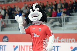 Mascot of EHF Euro 2018 during handball match between National teams of Spain and Czech Republic on Day 2 in Preliminary Round of Men's EHF EURO 2018, on Januar 13, 2018 in Skolsko Sportska Dvorana, Varazdin, Croatia. Photo by Mario Horvat / Sportida