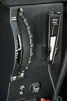 Elevator trim wheel and stanbdy com microphone on a Cessna 172 light aeroplane