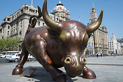 Bronze sculpture of bull on The Bund in Shanghai China