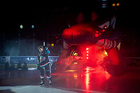 KELOWNA, CANADA - SEPTEMBER 22:  Kyle Crosbie #25 of the Kelowna Rockets enters the ice against the Kamloops Blazers on September 22, 2018 at Prospera Place in Kelowna, British Columbia, Canada.  (Photo by Marissa Baecker/Shoot the Breeze)  *** Local Caption ***