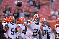 August 23, 2014: Cleveland Browns QB Johnny Manziel (2) prior to the pre-season game between the St. Louis Rams and the Cleveland Browns played at FirstEnergy Stadium in Cleveland, OH. NFL American Football Herren USA AUG 23 Preseason - Rams at Browns PUBLICATIONxINxGERxSUIxAUTxHUNxRUSxSWExNORxONLY Icon140823010<br />