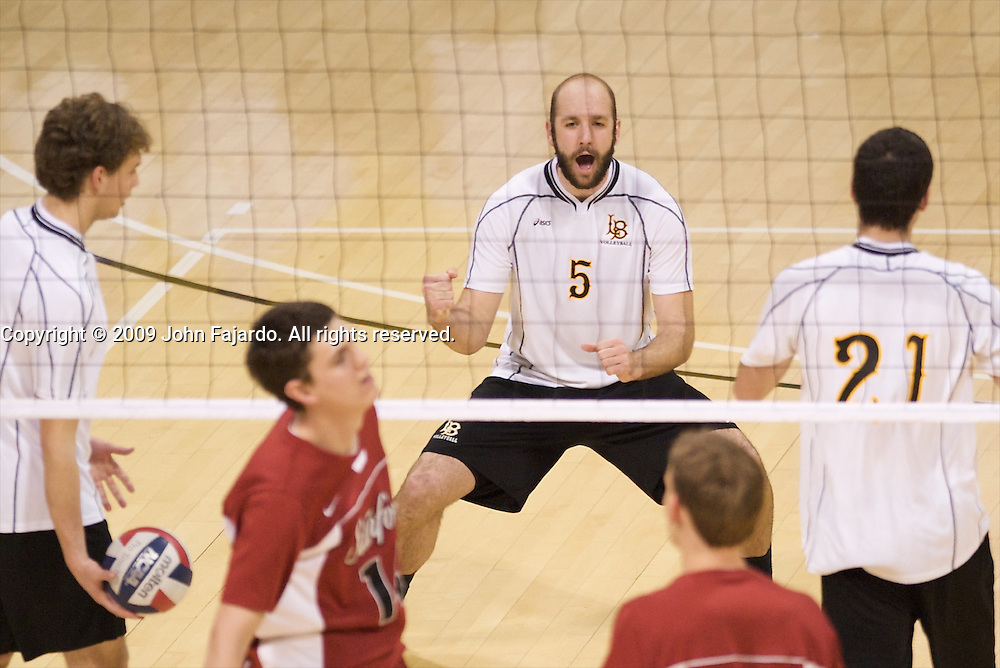 Mike Klipsch(5) celebrates the point in the Mountain Pacific Sports Federation match against Stanford at the Walter Pyramid, Long Beach CA, Friday April 3, 2009.  Long Beach State loses the match in five sets 30-28, 18-30, 26-30, 30-26, 18-20.
