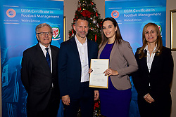 NEWPORT, WALES - Wednesday, December 12, 2018: Dragana Vukadin receives her certificate from Wales national team manager Ryan Giggs alongside Jean-Loup Chappelet, UEFA CFM Dean (L) and Valentina Mercolli, UEFA HatTrick Programme Manager (R) during the UEFA Certificate of Football Management Graduation Ceremony in the 2010 Clubhouse at the Celtic Manor Resort. (Pic by David Rawcliffe/Propaganda)