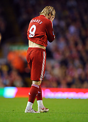 Fernando Torres shows his frustration during the Barclays Premier League match between Liverpool and Aston Villa at Anfield on August 24, 2009 in Liverpool, England.