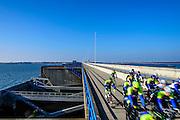 Nederland, Zuid-Holland, Haringvliet, 13-03-2016; <br /> Haringvlietdam en Haringvlietsluizen, tussen de eilanden Voorne-Putten en Goeree-Overflakkee bij de monding van de Haringvliet in de Noordzee.  Zesde bouwwerk van de Deltawerken.<br /> <br /> copyright foto/photo Siebe Swart