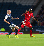 4th September 2017, Hampden Park, Glasgow, Scotland; World Cup Qualification, Group F; Scotland versus Malta; Malta's Alfred Effiong and Scotland's Scott Brown  battle for the ball