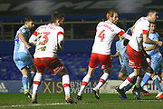 Matthew Godden of Coventry City (24) gets a header at goal during the EFL Sky Bet League 1 match between Coventry City and Rotherham United at the Trillion Trophy Stadium, Birmingham, England on 25 February 2020.