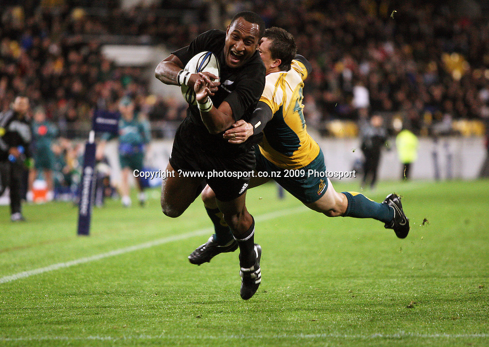 All Blacks winger Joe Rokocoko dives for the tryline.<br /> Investec Tri-Nations - All Blacks v Australia at Westpac Stadium, Wellington. Saturday 19 September 2009. Photo: Dave Lintott/PHOTOSPORT