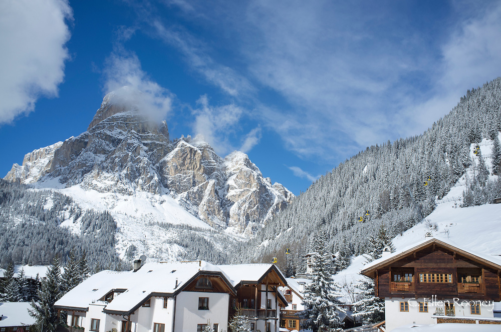 A view toward Corvara and Sassongher Mountain from the ski resort of Alta Badia in the Dolomites in the South Tyrol, Italy