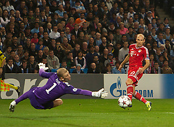 02.10.2013 Manchester, England.  Bayern Munich's Arjen Robben shoots wide during the Group D UEFA Champions League game between, Manchester City and Bayern Munich from the Etihad Stadium.