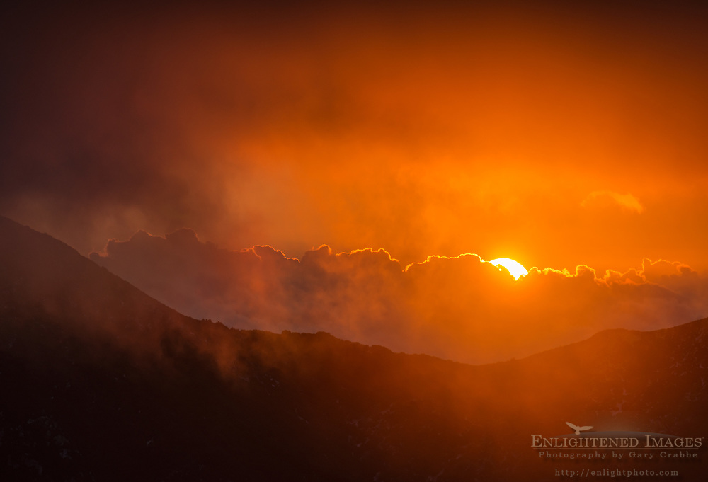 Sunset through storm clouds in the Los Padres National Forest, Monterey County, California