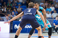 Movistar Estudiantes Omar Cook and Donar Groningen Aron Roye during Basketball Champions League match between Movistar Estudiantes and Donar Groningen at Wizink Center in Madrid, Spain October 02, 2017. (ALTERPHOTOS/Borja B.Hojas)