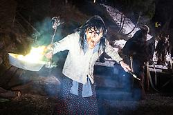THEMENBILD - KRAMPUSLAUF, am Freitag, 30. November 2012, in Kaprun im Pinzgau. Der Krampus ist im ostalpenlaendischen Adventsbrauchtum eine Schreckgestalt, meist in Begleitung des Heiligen Nikolaus. Hier im Bild eine Hexen Gestalt. // THEME PICTURE - Krampus, the mythical creature that, according to legend, accompanies Saint Nicholas during the festive season.  Instead of giving gifts to good children, he punishes the bad ones. In the picture is a witch. Image taken on 30.11.2012, Kaprun, Austria. EXPA Pictures © 2012, PhotoCredit: EXPA/ Juergen Feichter