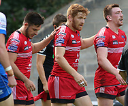 Kris Welham (C) of Salford Red Devils celebrates scoring the try against Halifax RLFC during the Super 8s The Qualifiers match at Mbi Shay Stadium, Halifax<br /> Picture by Stephen Gaunt/Focus Images Ltd +447904 833202<br /> 02/09/2018