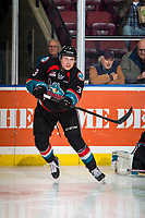 KELOWNA, CANADA - NOVEMBER 28:  Dalton Gally #3 of the Kelowna Rockets warms up against the Vancouver Giants on November 28, 2018 at Prospera Place in Kelowna, British Columbia, Canada.  (Photo by Marissa Baecker/Shoot the Breeze)