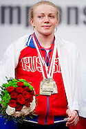 Tima Turieva from Russia with gold medal in total competition woman's 63 kg Group A during weightlifting IWF World Championships Wroclaw 2013 at Centennial Hall in Wroclaw on October 23, 2013.<br /> <br /> Poland, Wroclaw, October 23, 2013<br /> <br /> Picture also available in RAW (NEF) or TIFF format on special request.<br /> <br /> For editorial use only. Any commercial or promotional use requires permission.<br /> <br /> Mandatory credit:<br /> Photo by © Adam Nurkiewicz / Mediasport