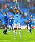Kyle Walker (2) of Manchester City applauds, claps the fans at full time after a 5-0 win over Cardiff during the Premier League match between Cardiff City and Manchester City at the Cardiff City Stadium, Cardiff, Wales on 22 September 2018.