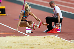 London, August 11 2017 . Darya Klishina, Authorised Neutral Athlete, in the women's long jump final on day eight of the IAAF London 2017 world Championships at the London Stadium. © Paul Davey.