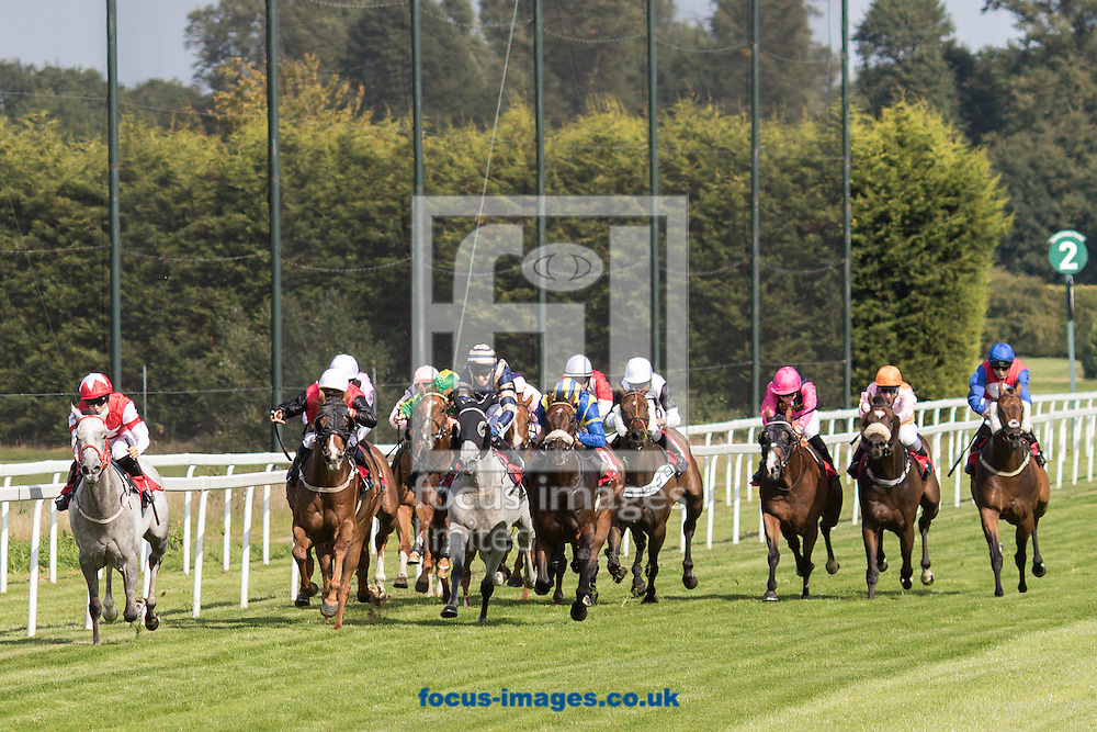 Georgia Cox on Silverrica (Red/White) wins the Federation Of Bloodstock Agents Handicap Silverrica  during the Fish &amp; Chip Friday race meeting at Sandown Park, Esher<br /> Picture by Mark Chappell/Focus Images Ltd +44 77927 63340<br /> 11/09/2015