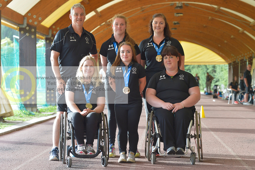 16 / 06 / 2016,  Orla Barry (Ladysbridge, Co. Cork), F57 class, Leevale Athletic Club, Niamh McCarthy (Carrigaline, F41 class, Paralympics Ireland Athletics, Noelle Lenihan (Charleville, F38 class, North Cork Athletic Club, Deirdre Mongan (originally from Milltown, Co. Galway now living in Newcastle, Co. Down), F53 class, Lorraine Regan (Kilcormac, Co. Offaly), F56 class pictured  at the 2016 IPC Athletic European Championships in Grosseto, Italy