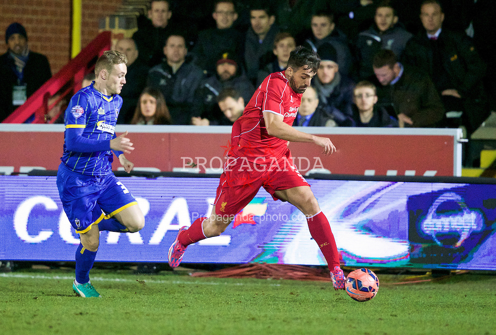 KINGSTON-UPON-THAMES, ENGLAND - Monday, January 5, 2015: Liverpool's Jose Enrique in action against AFC Wimbledon during the FA Cup 3rd Round match at the Kingsmeadow Stadium. (Pic by David Rawcliffe/Propaganda)