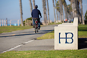 Man Riding His Bike on the Huntington Beach Bike Path