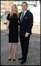 David Walliams with wife Lara Stone arrive at Westminster Abbey for the service to celebrate the life and work of Sir David Frost, Westminster Abbey, London, United Kingdom. Thursday, 13th March 2014. Picture by Andrew Parsons / i-Images