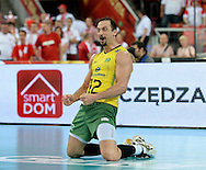 LODZ, POLAND - SEPTEMBER 16: Luiz Felipe Marques Fonteles of Brazil celebrates after winning a point during the FIVB World Championships match between Poland and Brazil on September 16, 2014 in Lodz, Poland. (Photo by Piotr Hawalej)