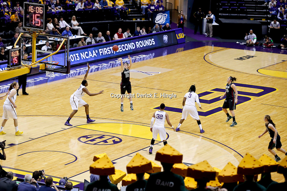 Mar 24, 2013; Baton Rouge, LA, USA; Green Bay Phoenix guard Adrian Ritchie (13) shoots against the LSU Tigers in the second half of the first round of the 2013 NCAA womens basketball tournament at the Pete Maravich Assembly Center.  LSU defeated Green Bay 75-71. Mandatory Credit: Derick E. Hingle-USA TODAY Sports