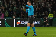 VAR Gives the penalty, Referee Artur Dias points to the spot during the Europa League match between Celtic and FC Copenhagen at Celtic Park, Glasgow, Scotland on 27 February 2020.
