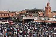 Marrakech, Morocco - APRIL 28: 2011. Bomb Blast Kills 15 people  In Marrakech's Djemaa al-Fna Square. People aid victims in Djemaa el-Fna square after a terrorist attack April 28, 2011 in Marrakech, Morocco. The blast ripped through a cafe overlooking Marrakech's Djemaa el-Fna square, a spot often packed with foreign tourists/   Attentat a la bombe sur la place Djama el Fnaa a Marrakech, 15 morts dont 6 francais. le 28 avril 2011