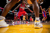 15 January 2010: Forward Rasual Butler of the Los Angeles Clippers defends an inbound pass against the Los Angeles Lakers during the second half of the Lakers 126-86 victory over the Clippers at the STAPLES Center in Los Angeles, CA.