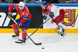 Mats Rosseli Olsen of Norway vs Jan Rutta of Czech Republic during the 2017 IIHF Men's World Championship group B Ice hockey match between National Teams of Czech Republic and Norway, on May 11, 2017 in AccorHotels Arena in Paris, France. Photo by Vid Ponikvar / Sportida