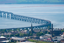 View of the Tay Railway Bridge spanning the River Tay in Dundee, Tayside, Scotland, UK