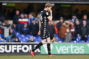 Eunan O'Kane of Leeds United sent off during the EFL Sky Bet Championship match between Ipswich Town and Leeds United at Portman Road, Ipswich, England on 13 January 2018. Photo by Phil Chaplin.