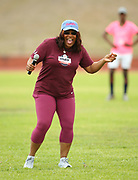 Mar 10, 2018; Cape town, South Africa; Coach Sharrieffa Barksdale of the USA (1984 Los Angeles Olympic Games 400m hurdles gold medal winner) during the warm-up session during the TrackGirlz events at University of Western Cape on March 10, 2018 in Cape Town, South Africa. (Roger Sedres/Image of Sport)