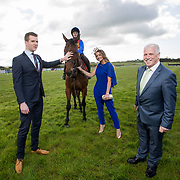 02.05.2018.        <br /> Limerick Racecourse launches Twilight Racing Series. <br /> Pictured are left to right, Stephen Keeley, Fields The Jeweller, Jockey, Derick Cooper, model, Emma Doran and John Davitt, Crescent Shopping Centre. Picture: Alan Place
