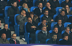 Manchester City manager Pep Guardiola watches the second half from the stand - Mandatory by-line: Matt McNulty/JMP - 10/04/2018 - FOOTBALL - Etihad Stadium - Manchester, England - Manchester City v Liverpool - UEFA Champions League Quarter Final Second Leg