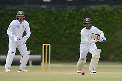 July 7, 2018 - Colombo, Western Province, Sri Lanka - Sri Lanka Borad Xl batsman Dhanajaya De Silva playing a shot during the day one of a two-day practice match between the Sri Lanka Board XI and South African team at P Sara Oval grounds in Colombo on 7th July, 2018, South Africa will play two Test matches, five ODI's and one T20 match in Sri Lanka. The first Test will play on July 12 at the Galle International Cricket Stadium in Galle. (Credit Image: © Sameera Peiris/Pacific Press via ZUMA Wire)