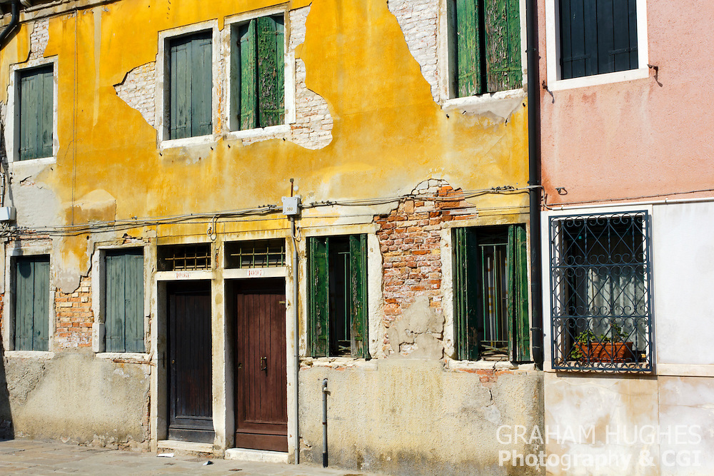 Colourful rustic villas in Venice, Italy.