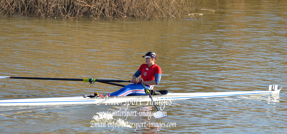 Boston, Great Britain. Women's Single Scull GBR W1X . Rebecca CHIN,  compete's in the 2013 GBRowing second assessment, Boston Rowing Club, River Witham, Lincolnshire.    Saturday  09/02/2013   [Mandatory Credit. Peter Spurrier/Intersport Images]