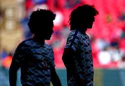 David Luiz of Chelsea and Willian of Chelsea silhouetted at Wembley ahead of the FA Community Shield game against Arsenal - Mandatory by-line: Robbie Stephenson/JMP - 06/08/2017 - FOOTBALL - Wembley Stadium - London, England - Arsenal v Chelsea - FA Community Shield
