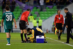 Player of NK Maribor lying on the ground during the football match between NK Olimpija and NK Maribor, played in the 4th Round of Prva liga football league 2010 - 2011, on September 29, 2010, SRC Stozice, Ljubljana, Slovenia. (Photo by Matic Klansek Velej / Sportida)