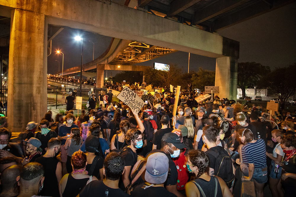 George Floyd Solidarity protest  In New Orleans on June 3, thousands of people went on the Crescent City Connection to try to cross the bridge only to be teargassed by the police.
