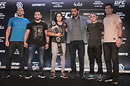 March 20, 2018 - Brazil - RIO DE JANEIRO, RJ - 20.03.2018: COLETIVA UFC 224 NUNES X PENNINGTON - Thales Leites, Davi Ramos, Amanda Nunes, Rodrigo Minotauro, Raquel Pennington and Lyoto Machida during the press conference for the UFC 224 sales opening announcement: Nunes x Pennington, event scheduled for May 12 at Jeunesse Arena, in Rio de Janeiro. (Credit Image: © Fotoarena via ZUMA Press)