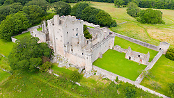 Elevated view of Craigmillar Castle in Edinburgh, Scotland UK.